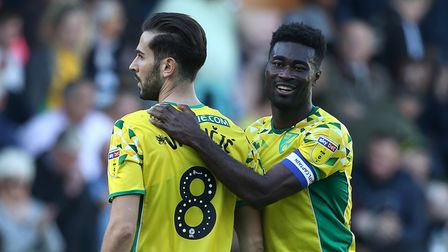 Mario Vrancic of Norwich and Alexander Tettey of Norwich celebrate victory at the end of the Sky Bet