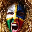 A Lions fan shows her support during a Test match between the New Zealand All Blacks and the British & Irish Lions