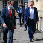 Labour leader Sir Keir Starmer, with Dan Norris, left, during a visit to Bath