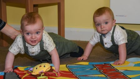 Kate Naomi and Ashley Thorne's twins, Eivin and Arlen, at Buckingham Lodge Care Home meeting their g