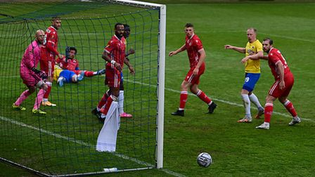 Missed chance as Adam Randell of Torquay United hears goes wide during the National League match bet