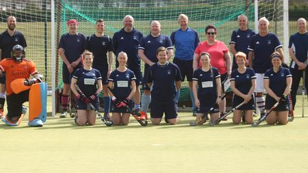 St Neots Hockey Club's committee team who played in the Captain Tom Challenge match
