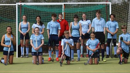 St Neots Hockey Club's mixed U18 team who played in the Captain Tom Challenge match