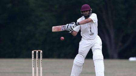 Sachin Vaja in batting action for Gidea Park & Romford