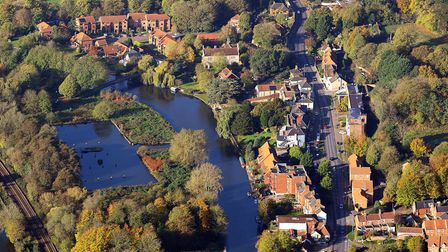 Aerial view of a beautiful East Anglian autumn. Pictured: Thorpe St Andrew and Jenners Basin on the
