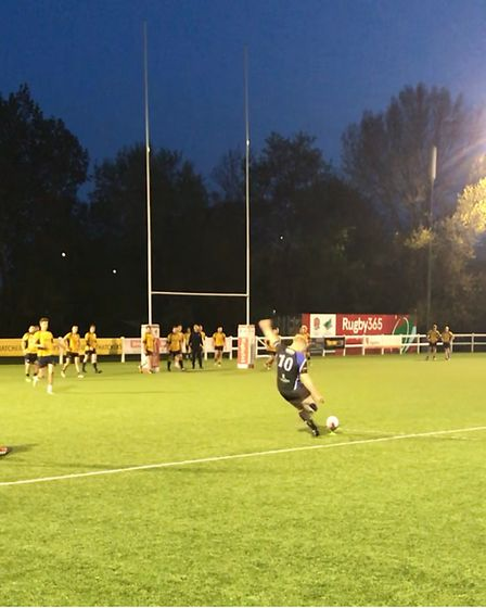 Jamie Elswood kicks a conversion for Nailsea & Backwell against Winscombe