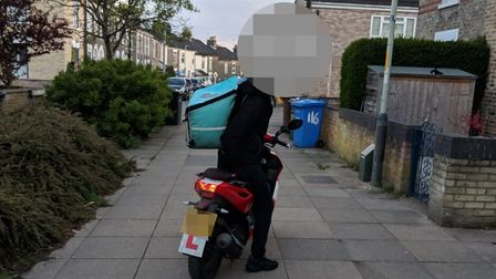Deliveroo driver in Rupert Street Norwich