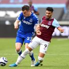 Everton's Seamus Coleman (left) and West Ham United's Said Benrahma battle for the ball during the P