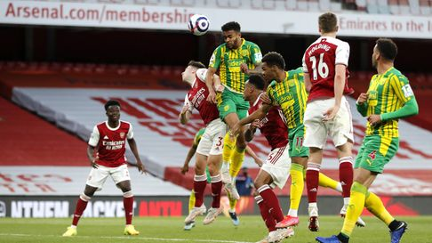 West Bromwich Albion's Darnell Furlong attempts a shot on goal during the Premier League match at th