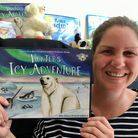 Ellie Jackson and her book Hunter's Icy Adventure.