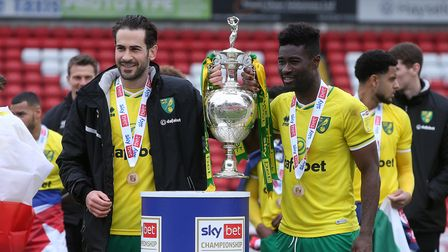 Mario Vrancic of Norwich and Alexander Tettey of Norwich with the EFL Championship trophy at the end
