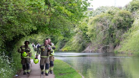Emergency services activity on the Grand Union Canal near Old Oak Lane. The body of a newborn baby h