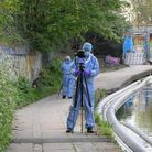 Forensics at Grand Union Canal in Willesden where a baby's body was found
