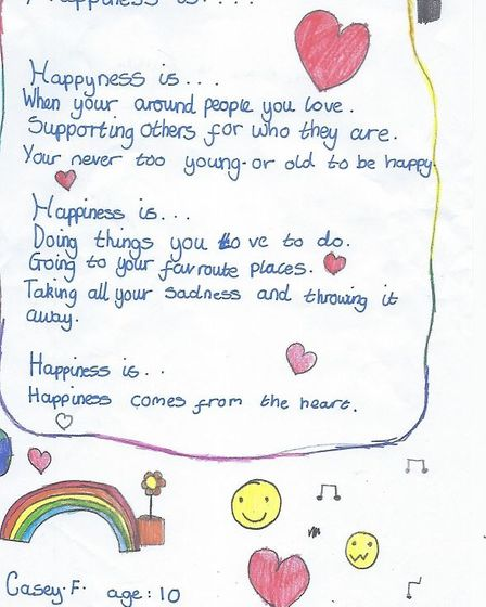 Casey-Mae Fielding's winning entry for the Book of Happiness.