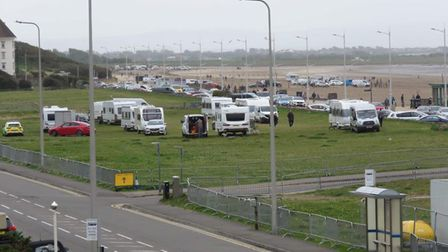 Travellers on the Beach Lawns in Weston
