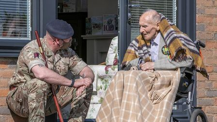 Reg Millns withRoyal Engineers, Warrant Officer Brian Durber on his 100th birthday.