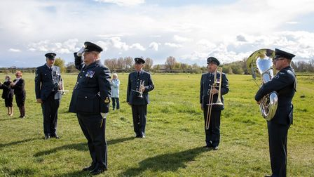 Members of the RAF Wyton Voluntary Band came and played for Reg on his 100th birthday.