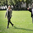 Sian Berry and Jonathan Bartley in London today after they were named as the new joint leaders of th