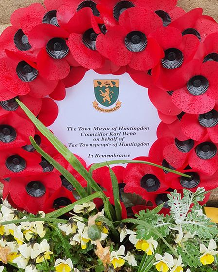 A wreath was laid a the war memorial in Huntingdon on Saturday.