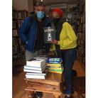 Zadie Smith and husband Nick Laird sign copies of their new book Wierdo in Offside Books, Willesden