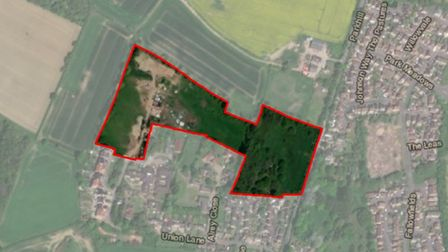 An aerial view of land north of Union Lane, Oulton.