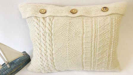 Amble Pin Cushion's Northumbria Knit and Stitch Guernsey Cushion Cover