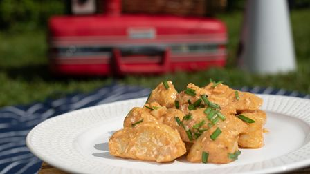 Summer picnic recipes by Charlotte Smith -Jarvis. Coronation chicken and Jersey royal salad. Pictu
