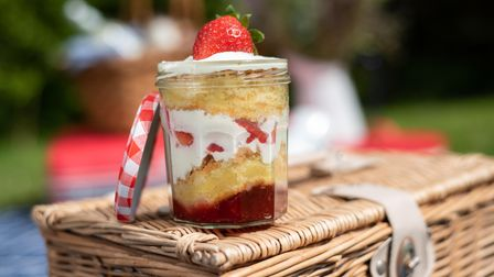 Summer picnic recipes by Charlotte Smith -Jarvis.Pimms and strawberry cake jars. Picture: Sarah L