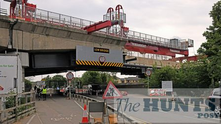 The old viaduct at Huntingdon is being removed at part of the A14 upgrade.