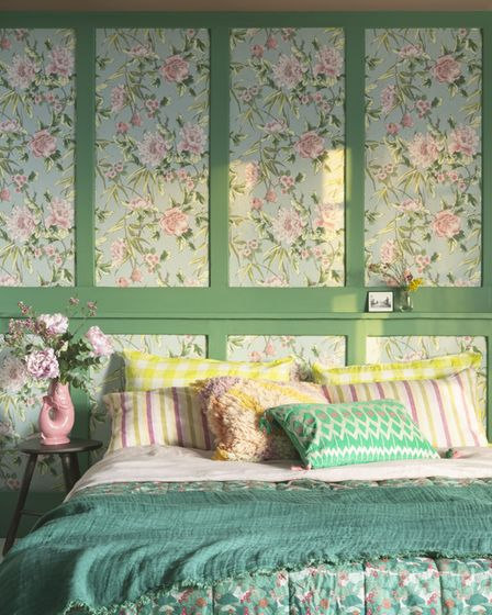 Woodchip & Magnolia x Fearne Cotton Pondering Peonies Duck Egg Wallpaper, vintage style bed linen part of room set.