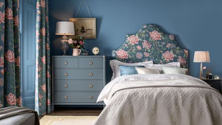 Laura Ashley Garrick Headboard in Tapestry Floral, Tapestry Floral Pencil Pleat Curtains, from a selection, Next.