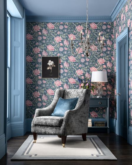 Laura Ashley Tapestry Floral Wallpaper, Dark Seaspray, Laura Ashley furniture and other items from a selection, Next.