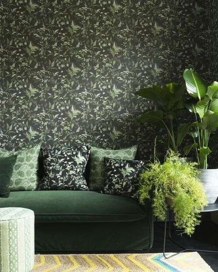 Woodchip &Magnolia x Fearne Cotton Vintage Fearne Night Sky Black Wallpaper and fabric, Woodchip &Magnolia.