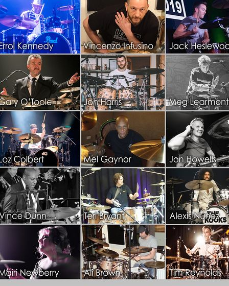 Collage of 20 drummers involved in DrumathonLIVE 2020.