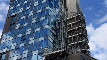 The scaffolding which has been on Westlegate Tower for more than two years. Picture: DENISE BRADLEY