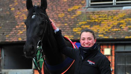 Jockey, Bryony Frost with Black Corton during the Paul Nicholls Stables Day before the Cheltenham Fe