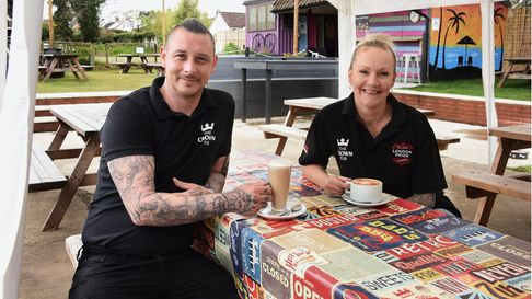 Managers Bradley Richards and Trina Lake who have opened a cafe in The Crown pub in Costessey.