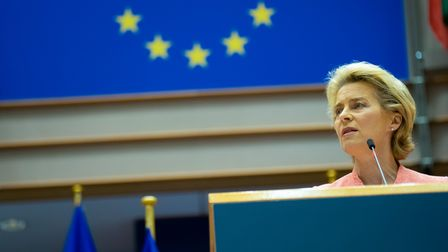 Ursula von der Leyen giving a speech