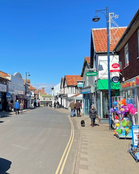 Sheringham's High Street, which is already getting busier as we head towards the tourist season.