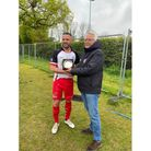 PortisheadTown's Kye Mountford with the Plate Cup and chairman Ade Green