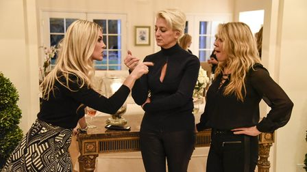 Things get heated at a house party in the Hamptons thrown by Ramona (right), as one of her guests makes a point