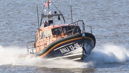 Lowestoft RNLI response boat out to sea.