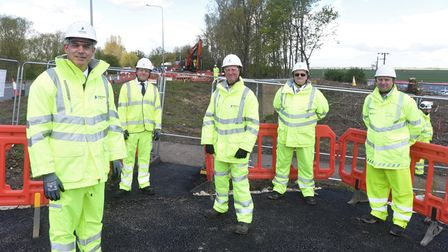 MP Steve Barclay with Highways England officials at the A47 Guyhirn Roundabout