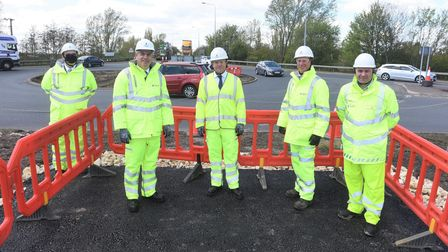 MP Steve Barclay at A47 Guyhirn roundabout with HIghways England officials