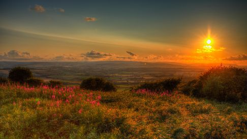 Sunset in Somerset England UK view from Quantocks Hills to Blackdown Hills across Taunton valley in