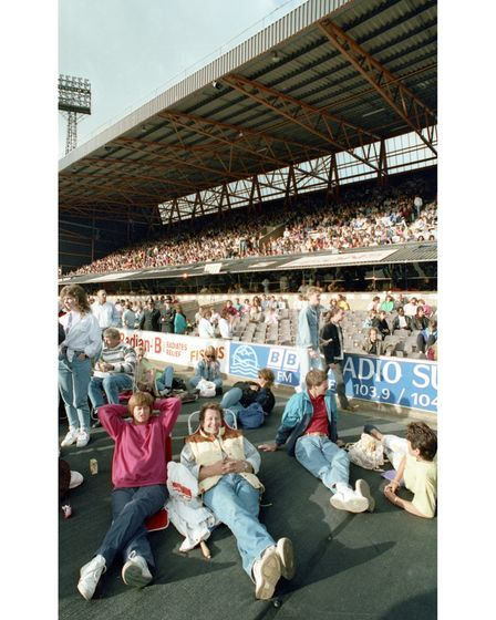 Relaxing in the crowd, waiting for Dire Straits to take to the stage at Portman Road in 1992