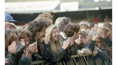 Fans of Dire Straits at the front of the crowd at Portman Road in 1992
