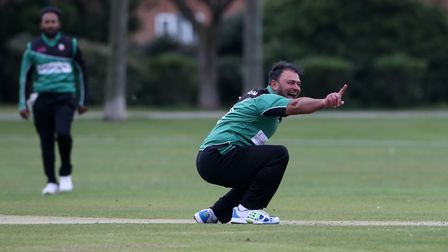 Mohammad Ahktar of Ilford appeals for a wicket during Upminster CC (batting) vs Ilford CC, Hamro Fou