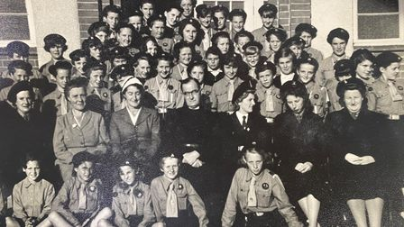 A group photo of the girl guides
