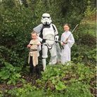 Anya, Andy and Leia Luke dressed in Star Wars costumes for the litter pick in Thorpe St Andrew
